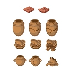 Set of earthenware jugs and plates whole broken vector image