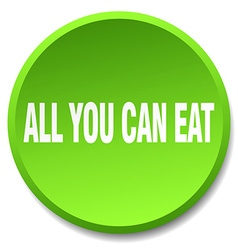 All you can eat green round flat isolated push vector