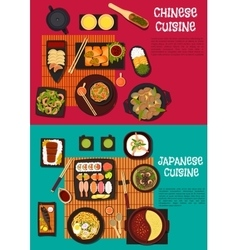 Popular dishes of japanese and chinese cuisine vector image