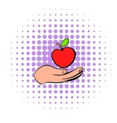 A hand giving a red apple icon comics style vector image