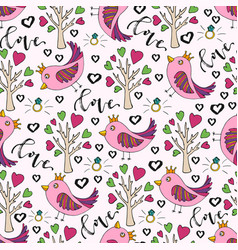 background for valentines day cute doodle vector image