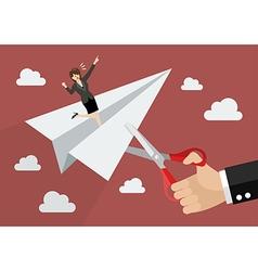 Big businessman hand cutting rival paper rocket vector