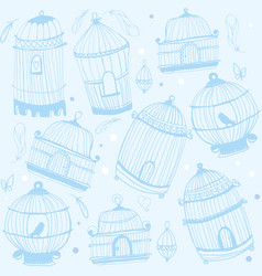 Birdcage print nature pattern with birdcages vector