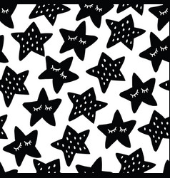 black and white seamless pattern with sleeping vector image vector image
