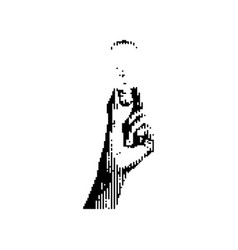 black vertical 8-bit left hand holding bulb vector image