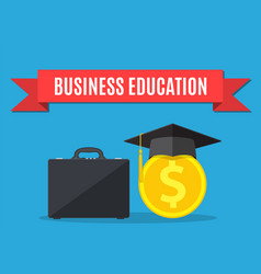 Business briefcase graduation cap gold coins vector