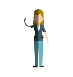 Character woman female standing arm up vector