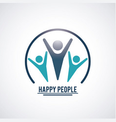 Color teamwork happy people with circular frame vector
