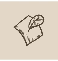 Feather and document sketch icon vector image