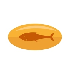 Fish medicine vitamin oil gold icon vector