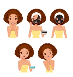 Girl Mask Face Tan vector image vector image