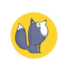 Gray wolf and full moon cartoon character vector