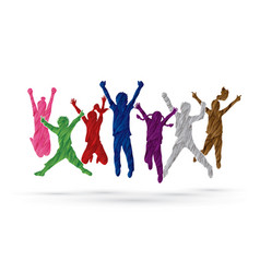 group of children jumping together friend vector image vector image