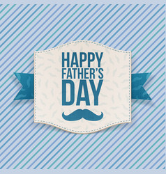 Happy fathers day banner with blue ribbon vector