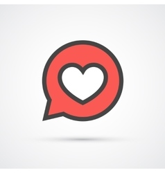 Heart in speech bubble stroke icon vector image