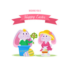 Holiday hares one gives flowers to another vector