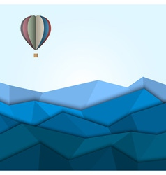 Hot air balloon and mountains from paper vector image