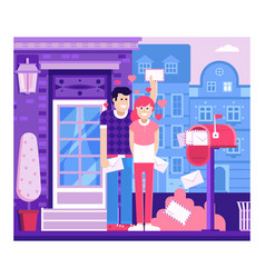 Loving couple receiving valentine letters vector