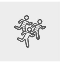 Marathon runners sketch icon vector