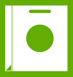 paper bag icon green vector image