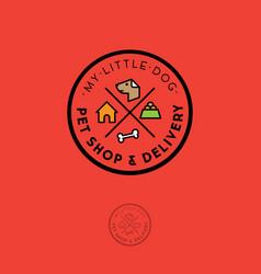 pet shop logo food for dogs emblem goods vector image