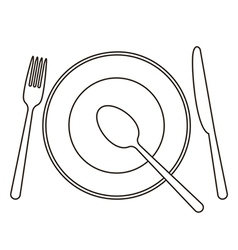 Place setting with plate knife spoon and fork vector image vector image