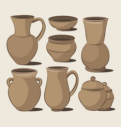 Rustic ceramic utensils vector