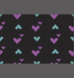 seamless pattern with hearts on a black background vector image vector image
