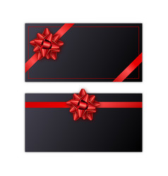 set of black holiday gift card with red ribbon and vector image vector image