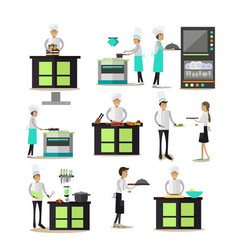 Set of professional cooking people icons in vector