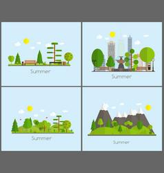 Summer time background set in modern flat design vector
