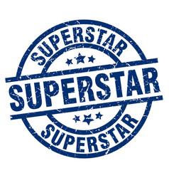 Superstar blue round grunge stamp vector