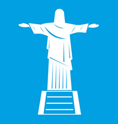 The christ the redeemer statue icon white vector