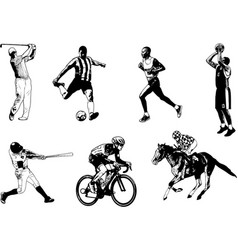 various sports sketch vector image vector image
