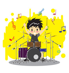 Young boy playing drumset happy love music color vector