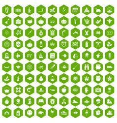 100 autumn holidays icons hexagon green vector
