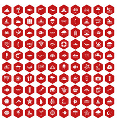 100 diving icons hexagon red vector