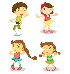Four kids vector