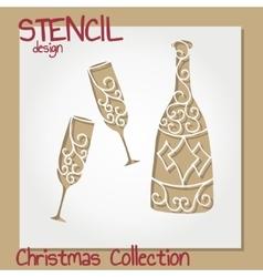 Set of stencil design templates christmas vector