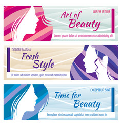 Beauty salon banners set with beautiful vector