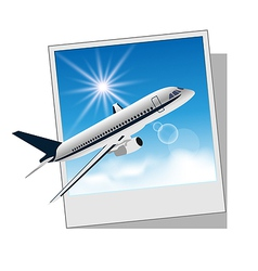 Photo frame with plane for travel design vector