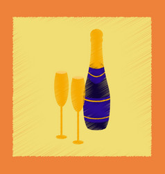 flat shading style icon champagne bottle and vector image