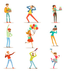 happy people celebrating giving gifts and having vector image