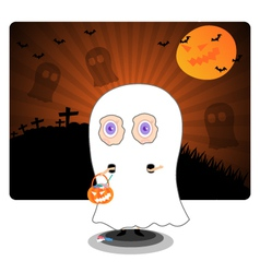 Little kid in halloween ghost costume vector