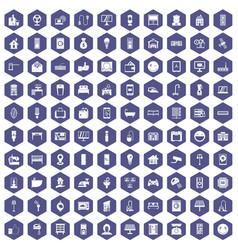 100 smart house icons hexagon purple vector
