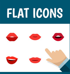 Flat icon mouth set of laugh teeth lips and vector