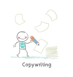 Copywriter writes on paper vector