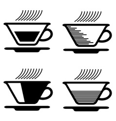 Black tea cup pictograms vector