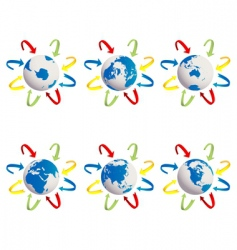 earth globes icons vector image