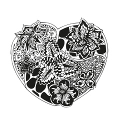 Hand-drawn doodling heart in tattoo style vector